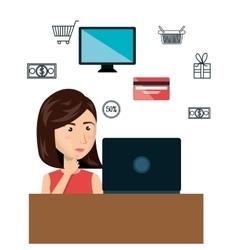 Cartoon woman e-commerce laptop desk isolated vector