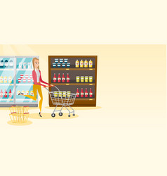 Caucasian woman running with trolley in the store vector