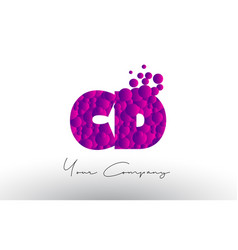 Cd c d dots letter logo with purple bubbles vector
