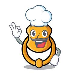 Chef metal door knocker on character cartoon vector