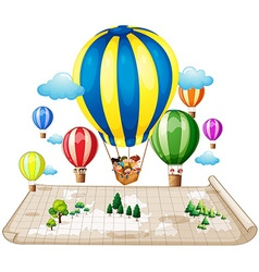 Children traveling by balloon vector