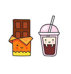 Chocolate bar and a cup of coffee vector