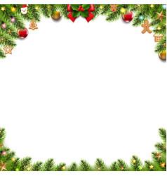 christmas banner with christmas toys white vector image