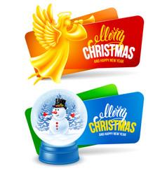 christmas festive banners set vector image