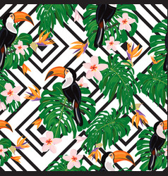 colorful tropic seamless pattern with tucans vector image