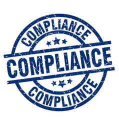 Compliance blue round grunge stamp vector