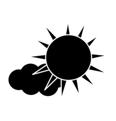 Contour sun and cloud natural weather vector