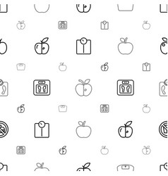Dieting icons pattern seamless white background vector