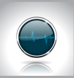 Electrocardiogram sign dark blue round 3d icon vector