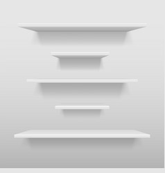 empty white shop or exhibition shelf retail white vector image