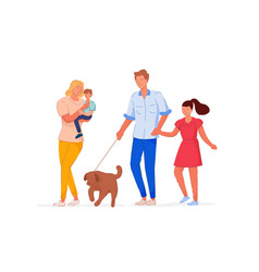 family time together on walk isolated on white vector image
