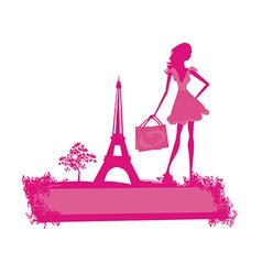 Fashion slim women silhouette Shopping in Paris vector