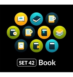 Flat icons set 42 - book collection vector image