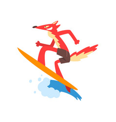 fox surfer character catching ocean wave vector image