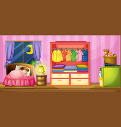 girl sleeping in bedroom vector image
