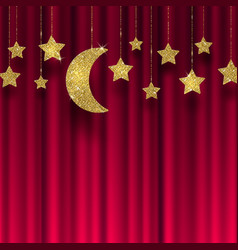 Glitter gold stars and moon on a red curtain vector