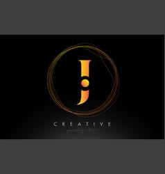Gold artistic j letter logo design with creative vector
