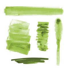 Green watercolor shapes splotches brush strokes vector