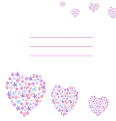 greeting card with flowers hearts vector image