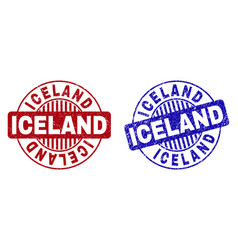 Grunge iceland scratched round stamps vector