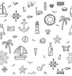 Hand drawn seamless nautical pattern Nautical vector