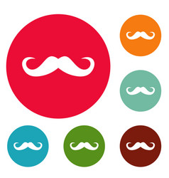 Handlebar mustache icons circle set vector