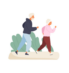 happy elderly couple running at summer park vector image