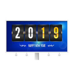 happy new year 2019 flip countdown timer on vector image