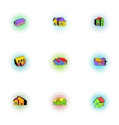 Housing icons set pop-art style vector