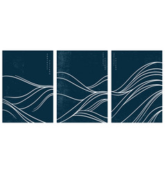 Japanese wave pattern with abstract art vector