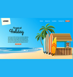 landing page design with tropical beach bar vector image