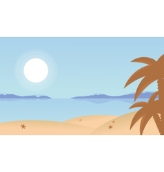 Landscape beach and palm of silhouette vector image