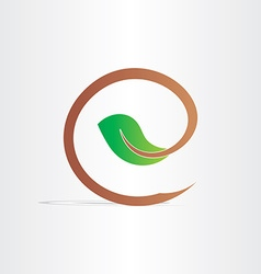 letter e eco branch with leaf symbol vector image