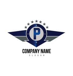 letter p shield logo vector image
