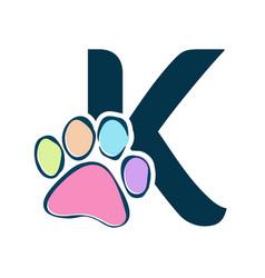 Letter paws k vector