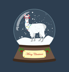 llama in christmas costume in snowball vector image