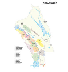 Map wine growing region napa valley vector
