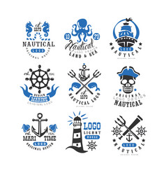 marine logo set design element for nautical vector image