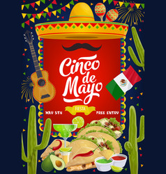 mexican cinco de mayo fiesta celebration food vector image