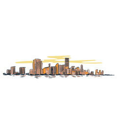 Miami city usa sketch landscape line skyline vector