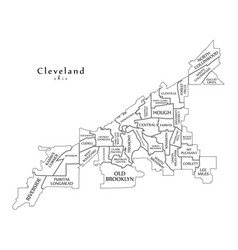 modern city map - cleveland ohio city of the usa vector image