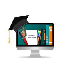online education study in online school using vector image