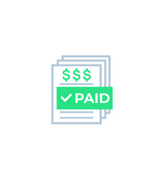 Paid bills payments icon vector