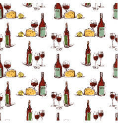 pattern of wine bottles and wine glasses vector image