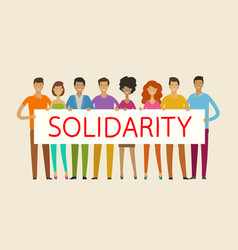 people holding blank banner solidarity cohesion vector image