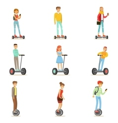 People Riding Electric Self-Balancing Batery vector