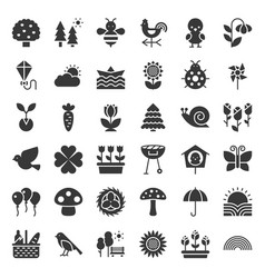 picnic nature and spring icon set solid style vector image