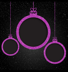 pink sequin frame star sky christmas ball vector image
