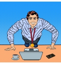 Pop Art Business Man with Medal Doing Push-ups vector image
