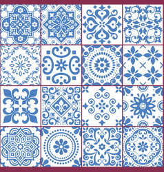 Portuguese and spanish azulejo tiles seamless vect vector